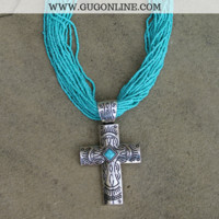 Turquoise Beaded Necklace with Southwestern Cross