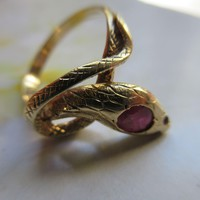 Antique Ruby Snake Ring