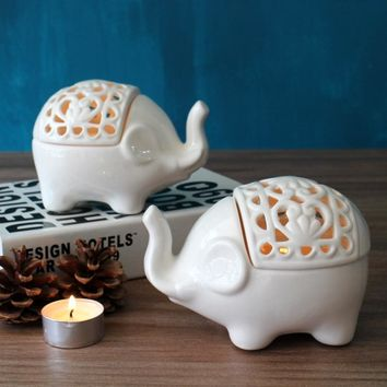 Elephant Decor, Ceramic Candlestick Elephant