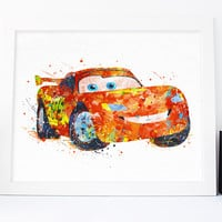 Lightning McQueen - Disney Poster - Watercolor Art Printable