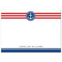 Nautical anchor emblem on red stripes, personalized flat note card