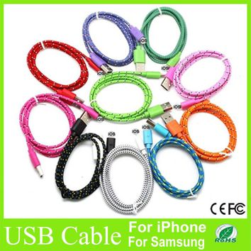 1M Micro USB Cable Fabric Braided data Sync cables Charger Cord For Samsung For iphone6 6plus charging cable for iPhone 5 5s 5c
