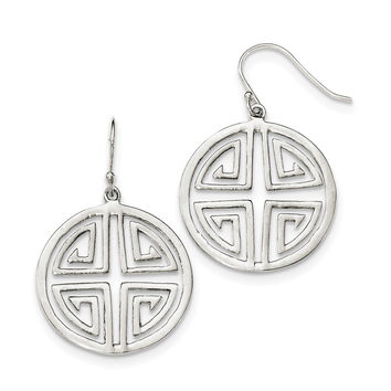 Sterling Silver Chinese Symbol Dangle Earrings QE12000