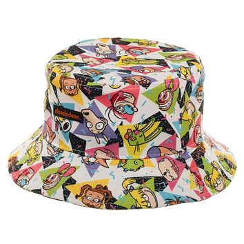sale retailer a4c85 3c61a Nickelodeon Bucket Hat All Over Print 90s Cartoon Hat