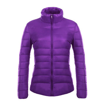 Woman Stand Collar Thin Light Down Coat Slim    purple   S