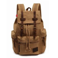 ZLYC Men Vintage Light Weight Canvas Twin Button Outdoors Hiking Backpack Bag