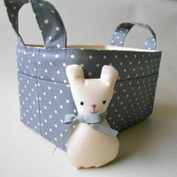 Fabric Basket Grey Polka Dot with Pocket Mouse and Storage Pockets in Eco Friendly Cotton, Diaper Caddy Gray Nursery Decor
