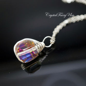 Rainbow Crystal Necklace - Sterling Silver Wrapped Swarovski Crystal Necklace - Tiny Cube Crystal Necklace | Faceted Single Bead Necklace