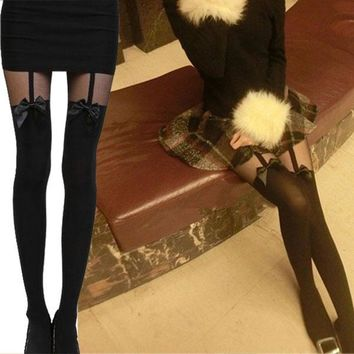 2017 New Sexy Vintage Women Tights Bow Pantyhose Tattoo Mock Bow Suspender Sheer Stockings Female -MX8
