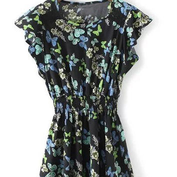 Cap Sleeve Ruffle Elastic Waist Butterflies Printed Skater Dress