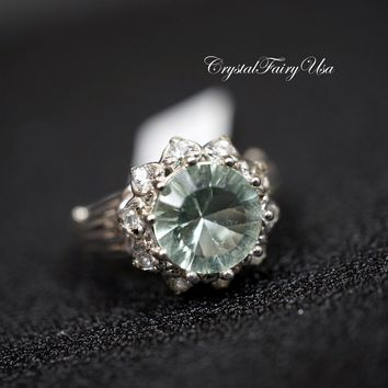Large Fluorite Ring, Engagement CZ Ring, Multi Gemstone Green Quartz  Size 7.5 Full Sterling Silver Solitaire Halo Green Stone Ring