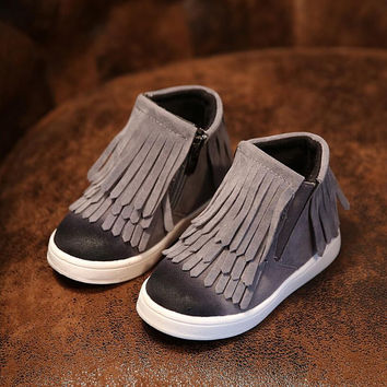 Spring Autumn Winter child/girl/kid motorcycle boots nubuck leather martin boots fringe flats shoes zip solid color short boots