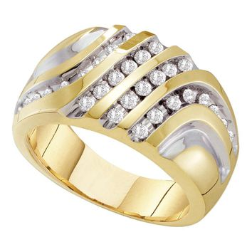 10kt Yellow Gold Mens Round Diamond Four Row Two-tone Cluster Ring 1/2 Cttw