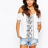 New Look Embroidered Strappy Cold Shoulder at asos.com