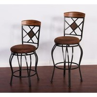 Sunny Designs 1877RO Sedona Metal Swivel Barstool In Rustic Oak