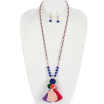 Turquoise Wood Bead Thread Pom Pom Necklace Earring Set PTS125291GDTUQ
