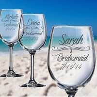 ELEGANT Custom Engraved Wine Glasses - Perfect Bridesmaid Gifts and Wedding Gifts!
