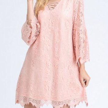 Be My Valentine Bell Sleeve Lace Dress