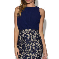 Chiffon and Lace Blue Mini Dress