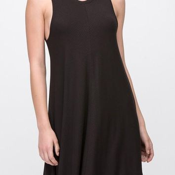 Lucy Chevron Ribbed Swing Dress in Black