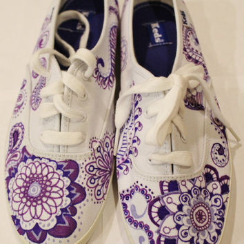 Purple Paisley Keds Tennis Shoes Custom Made & Hand-drawn