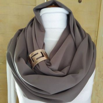 Fashion infinity scarf with leather cuff, infinity scarves, Brown leather cuff, Scarves, scarf, womens scarve, accessories