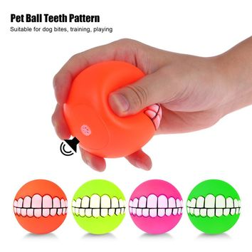 Puppy Cat Dog Funny Ball Teeth Silicon Toy