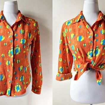 long sleeved blouse in orange with polka dots (free size), sheer button down top