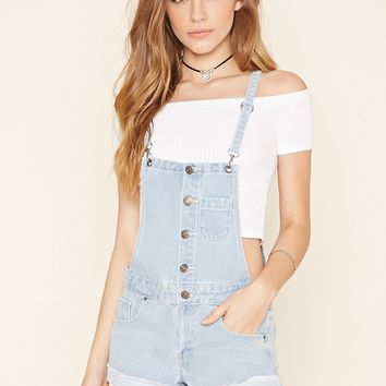 Button-Front Overall Shorts