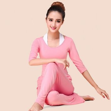 Ladies Yoga Three Piece Long Sleeve T-shirt And Pants Sport Suit Fitness Set Plus Size Running Suit Slim Yoga Pants Gym Yoga Set