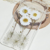 Presed Flower iphone 6s clear, iphone 6/6 plus case rubber, white daisy flower iphone 5 5s 5c case,iphone 7 7 plus case,Xmas Gift For her