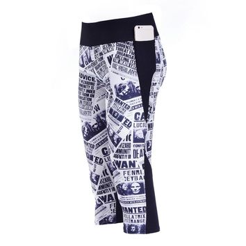 Capri Pants Newspaper print Yoga Leggings