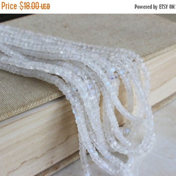 Mega SALE Moonstone Gemstone Rainbow White Faceted Rondelle 4 to 4.5mm 70 beads 1/2 Strand