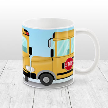 School Bus Mug - Yellow wraparaound School Bus illustration - Bus Driver, School Gift Idea - 11oz or 15oz - Made to Order