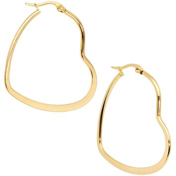 40mm Gold Tone PVD Stainless Steel Heart Hoop Earrings
