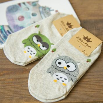1Pair/lot Summer Style Cute Lovely Cartoon Owl Cotton Socks For Women Girls Sock Fashion Slippers Ladies Grey Ankle Meias