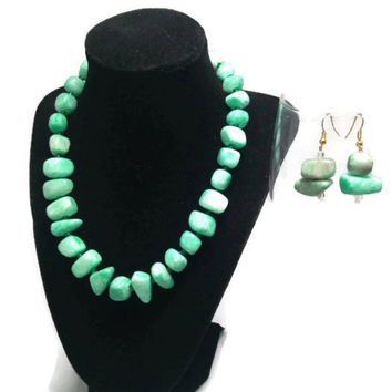 Stone Bead Necklace and Earring Set
