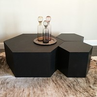 Hexagon Wood Modern Geometric Table- Black