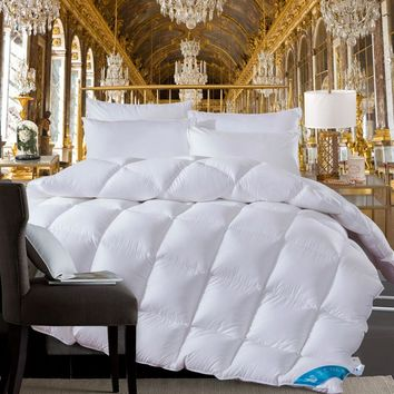 Twin Queen King size White Pink Coffee 100%Cotton goose duck down Comforter bed set Quilt Duvet cover filler Thick Warm Blanket