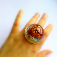 Real Rose Ring-Extra Large Ring-Eco Friendly Resin Transparent Ring-Flower Ring-Dried Rose In Resin-Large Ring With Real Flower-Unusual Ring