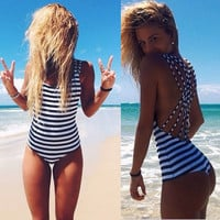 Stripes Backless Sexy One Piece Bikini Swimwear a10516