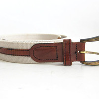 vintage brown and white canvas and leather belt / size 32