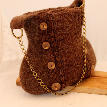 Purse, knitted and felted  Purse out of Brown Navajo Churro wool