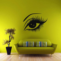 Eyes wall decal, Hair Style Salon wall decal, make up stickers, Girl Fashion All eyes wall stickers, beautiful eyes wall decal/i16