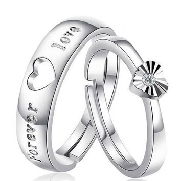 1pair =2pcs Fashion Lover's Heart Couple Rings for Women Men Wedding Engagement Silver Plated Jewelry Free Shipping