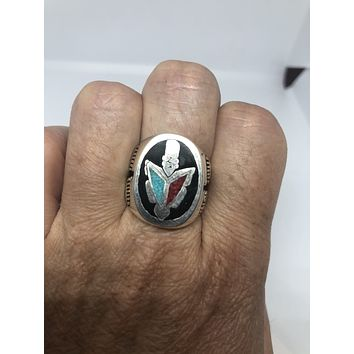 Vintage Native American Style Southwestern Stone Real Turquoise Coral Inlay Tomahawk Mens Ring
