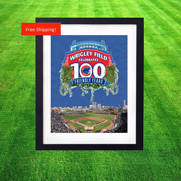 Wrigley Field Chicago 100 Year Anniversary Custom Print Chicago Cubs MLB NL Central Baseball Stadium Collectors Poster Art Gift Man Cave