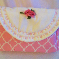 Little Girls Pink Quarterfoil Purse with White Flap, Girls Purse Handbag, Girls Pink Purse, Purse with Rose, Embroidered Purse, #6