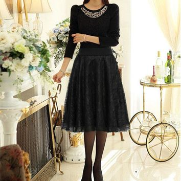 Elegant lace Women long skirt tulle lace black pleated print maxi high waist skirt puffy skirts plus size