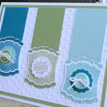 Baby Card, Baby Boy Card, Unisex Baby Card, Handmade Greeting Card, Hand Stamped Card